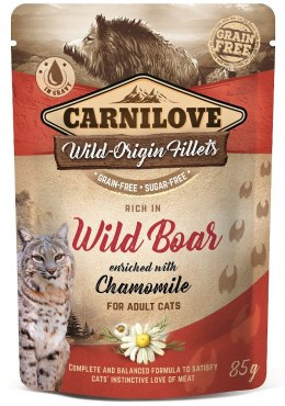 CARNILOVE CAT POUCH ADULT WILD BOAR WITH CHAMOMILE GRAIN-FREE 85g