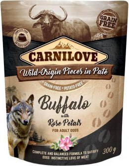 CARNILOVE DOG POUCH ADULT BUFFALO WITH ROSE PETALS GRAIN-FREE 300g
