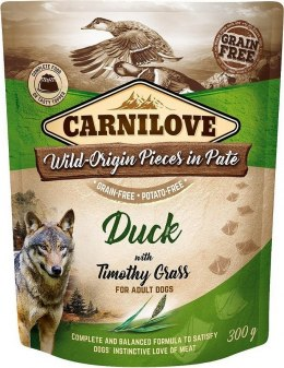 CARNILOVE DOG POUCH ADULT DUCK WITH TIMOTHY GRASS GRAIN-FREE 300g