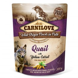 CARNILOVE DOG POUCH ADULT QUAIL WITH YELLOW CARROT GRAIN-FREE 300g
