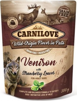 CARNILOVE DOG POUCH ADULT VENISON WITH STRAWBERRY LEAVES GRAIN-FREE 300g